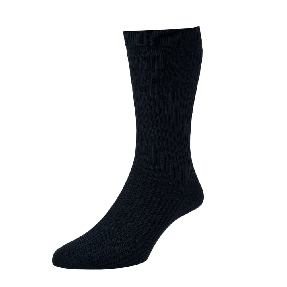 HJ Hall Plain Navy Blue Cotton Softop Men's Socks from ...