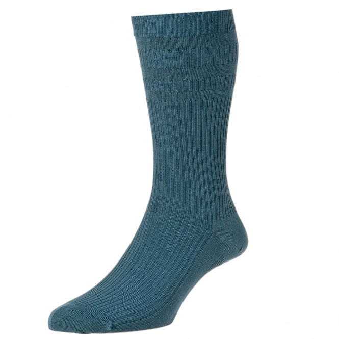 HJ Hall Plain Slate Blue Cotton Softop Men's Socks