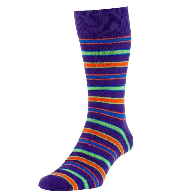 HJ Hall Purple, Green, Orange & Blue Striped Luxury Bamboo Men's Socks