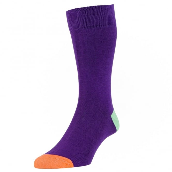 HJ Hall Purple, Green & Orange Heel & Toe Luxury Mercerised Men's Socks