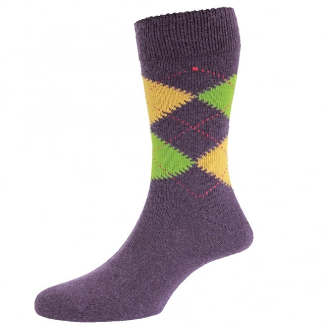 HJ Hall Purple, Lime Green & Yellow Argyle Luxury Lambswool Men's Socks