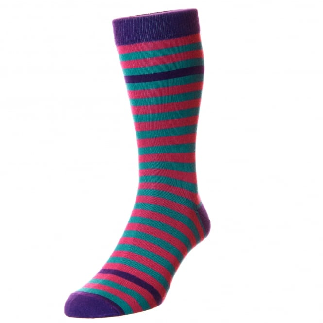 HJ Hall Purple, Pink & Blue Striped Supersoft Bamboo Men's Socks