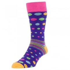 HJ Hall Purple Spots & Striped Men's Socks 2-PACK
