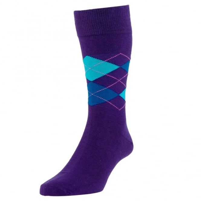 HJ Hall Purple, Turquoise & Royal Blue Argyle Luxury Bamboo Men's Socks