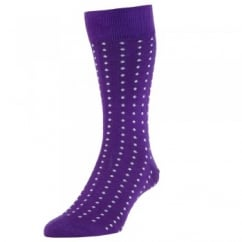 HJ Hall Purple & White Polka Dot Luxury Mercerised Men's Socks