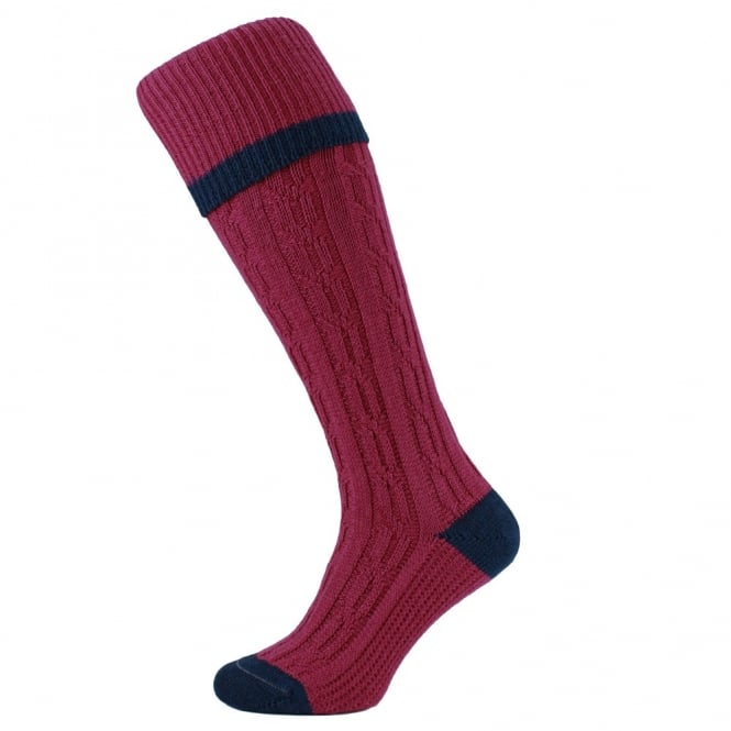 HJ Hall Raspberry Cable Stripe Merino Wool Blend Men's Shooting Socks