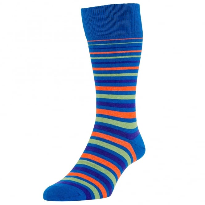HJ Hall Royal Blue, Purple, Lime & Orange Striped Men's Socks 2-PACK