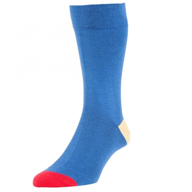 HJ Hall Royal Blue, Yellow & Red Heel & Toe Luxury Mercerised Men's Socks