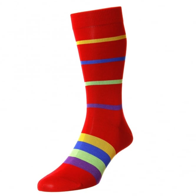 HJ Hall Scarlet Red, Purple, Green, Royal Blue & Yellow Horizontal Striped Egyptian Cotton Men's Socks - 7-10