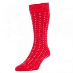 HJ Hall Scarlet Red & White Polka Dot Luxury Mercerised Men's Socks