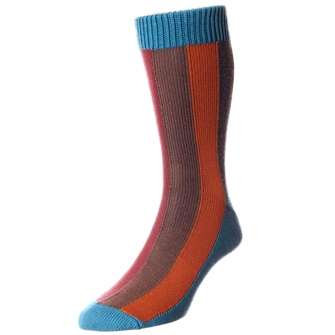 HJ Hall Teal, Brown, Pumpkin, Grey & Red Striped Men's Socks