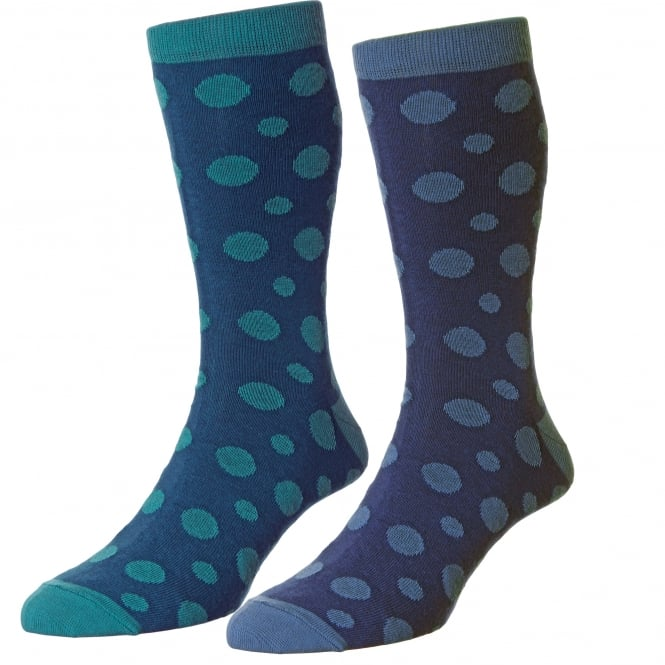 HJ Hall Teal & Denim Blue Spotted Men's Socks - 2 Pair Multi Pack