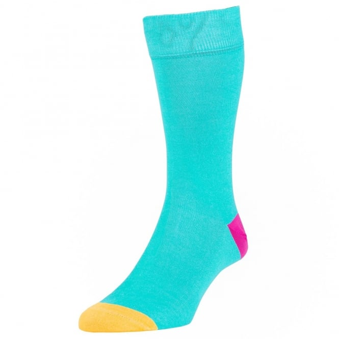 HJ Hall Turquoise, Fuchsia & Yellow Heel & Toe Luxury Mercerised Men's Socks