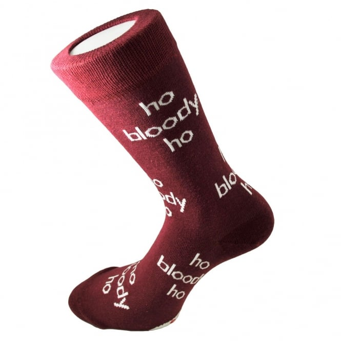 Ho Bloody Ho Wine Red Men's Novelty Christmas Socks