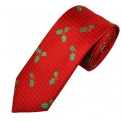Holly Red Men's Novelty Christmas Tie