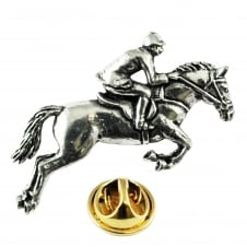 Horse & Jockey English Pewter Lapel Pin Badge