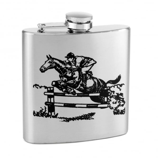Horse & Rider Show Jumping 6oz Stainless Steel Hip Flask