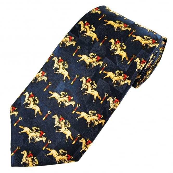 Horses at Winning Post Horse Racing Silk Novelty Tie