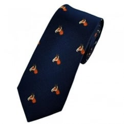Horses Head Indigo Blue Luxury Silk Narrow Country Tie