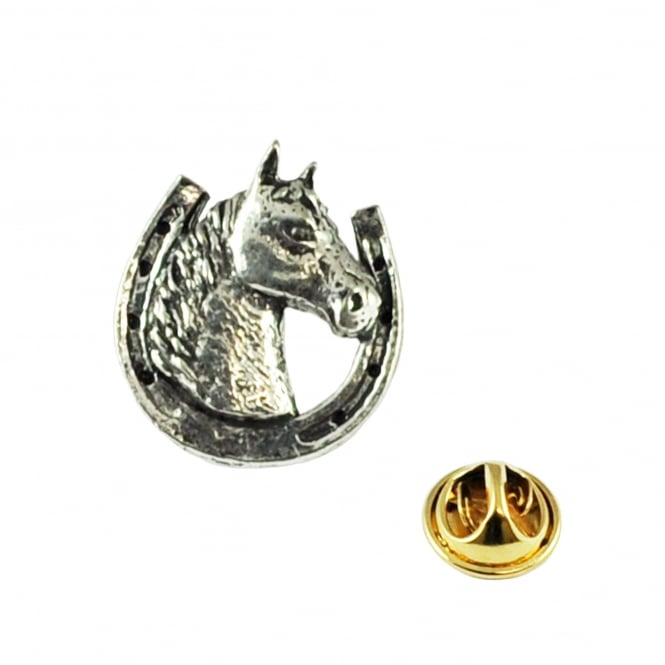 Horseshoe Equestrian Pewter Lapel Pin Badge