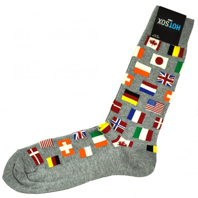 Hot Sox Flags of the World Grey Men's Novelty Socks