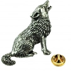 Howling, Baying Wolf English Pewter Lapel Pin Badge