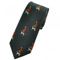 Hunter & Gun Dog Charcoal Grey Luxury Silk Narrow Country Tie