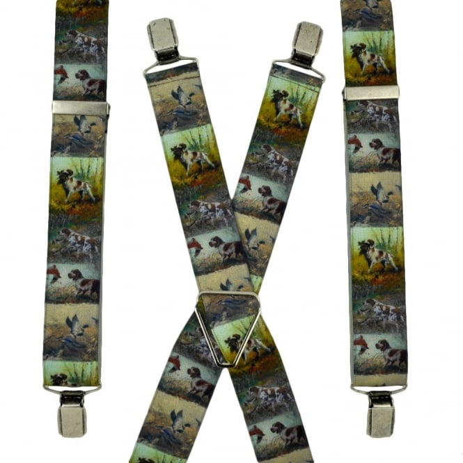 Hunting Dog & Birds Trouser Braces
