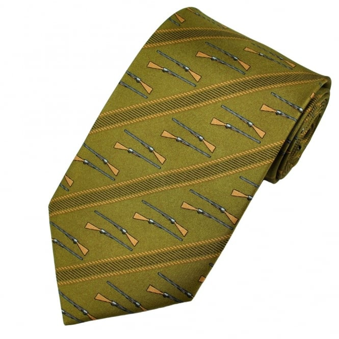 Hunting Rifles Khaki Green Novelty Tie