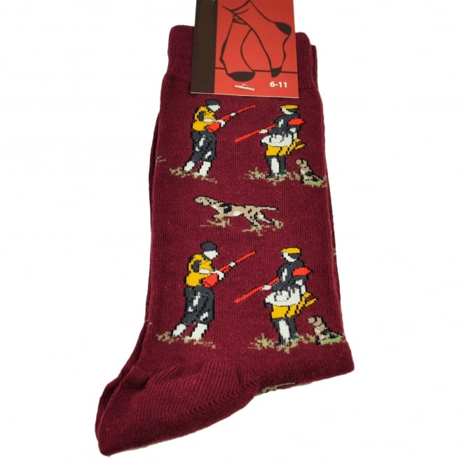 Hunting with Gun Dogs Scene Wine Red Men's Novelty Socks