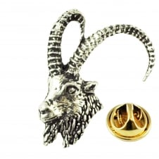 Ibex Head English Pewter Lapel Pin Badge