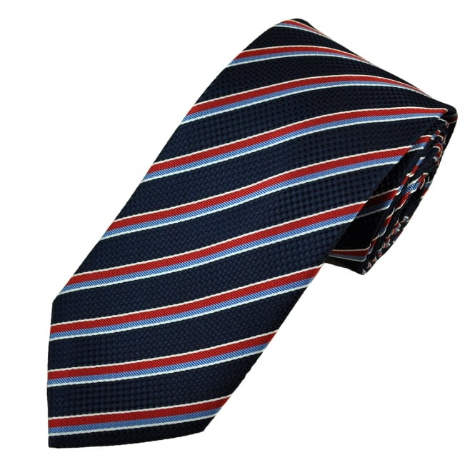 Indigo, Sky Blue, White & Red Striped Men's Tie
