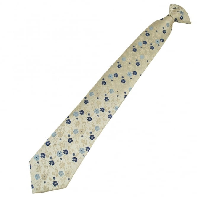 Ivory, Beige, Navy & Grey Flower Patterned Clip On Tie