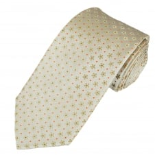 Ivory, Beige & Orange Flower & Dot Patterned Men's Tie