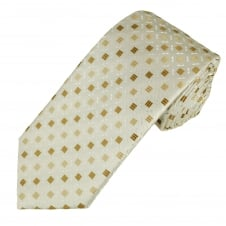 Ivory, Brown, Beige & White Patterned Men's Tie