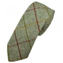 Ivory & Green Large Checked Herringbone Tweed Wool Tie