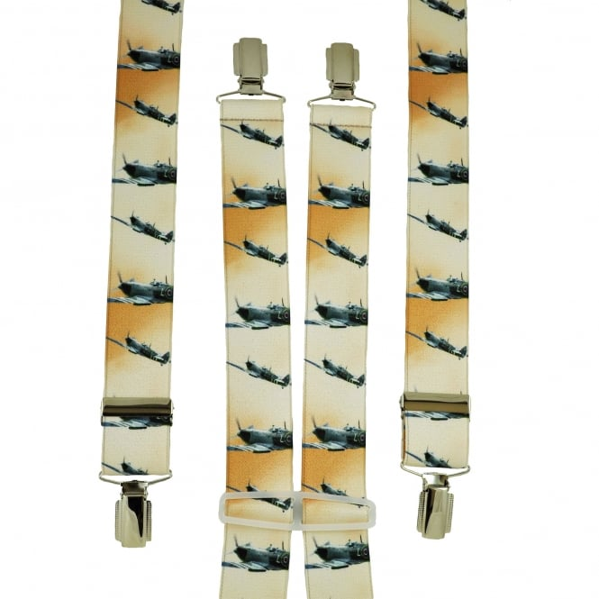 Ivory & Orange Planes Men's Trouser Braces