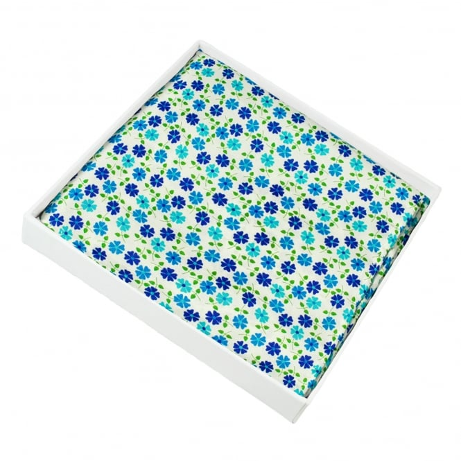 Ivory, Royal Blue, Turquoise & Green Flower Patterned Silk Pocket Square Handkerchief
