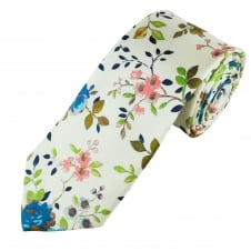 Ivory Vintage Flower Patterned Men's Luxury Silk Tie