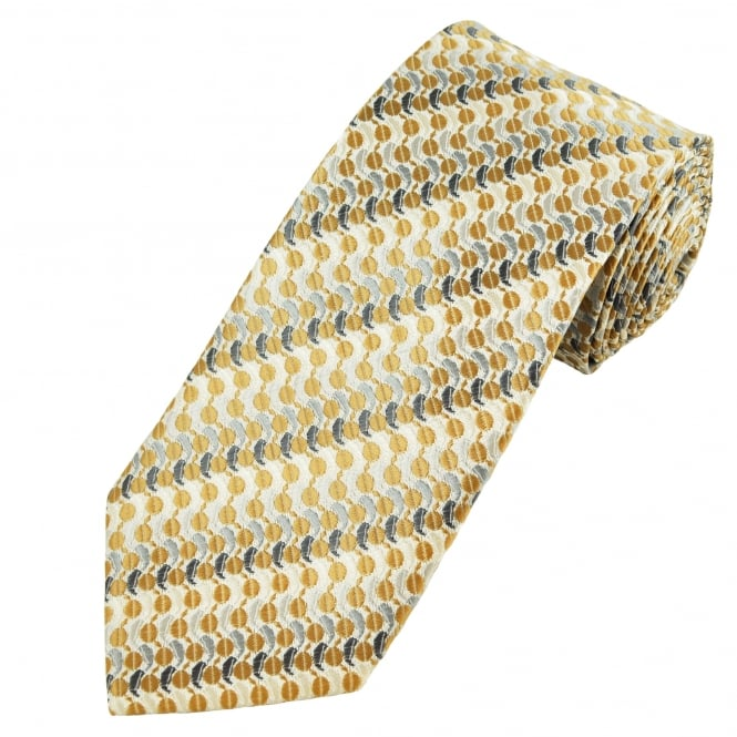 Ivory With Gold, Silver & Grey Patterned Men's Extra Long Tie