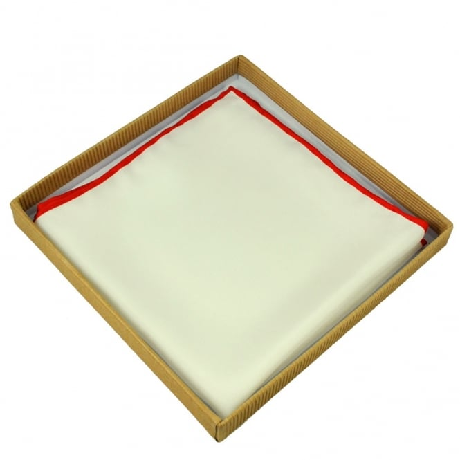 Ivory with Red Trim Silk Handkerchief