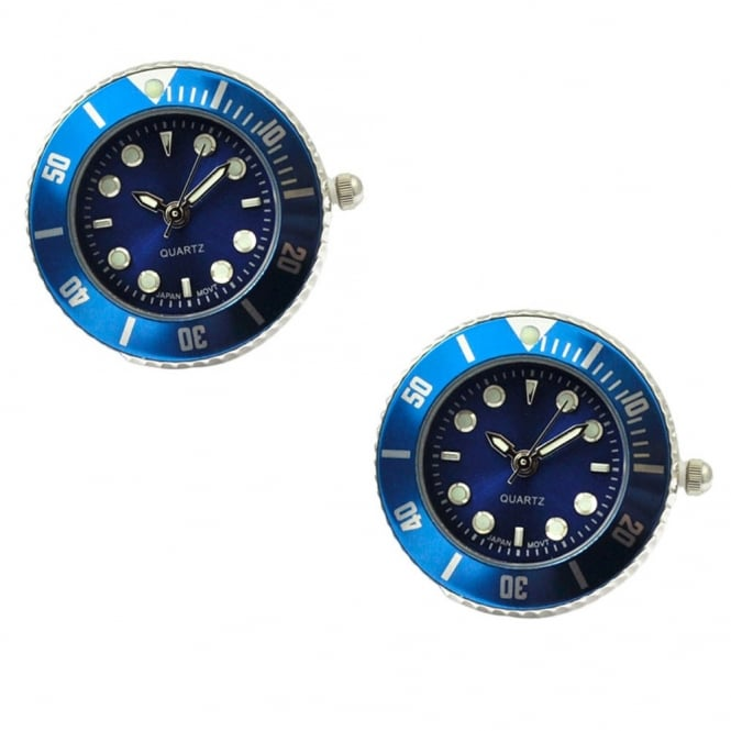 Japanese Movement Quartz Watch Blue Cufflinks