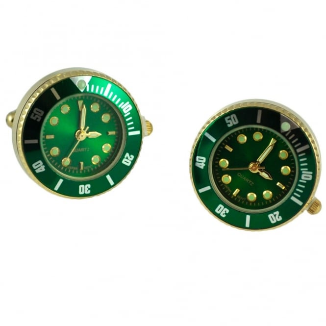 Japanese Movement Quartz Watch Green & Gold Cufflinks