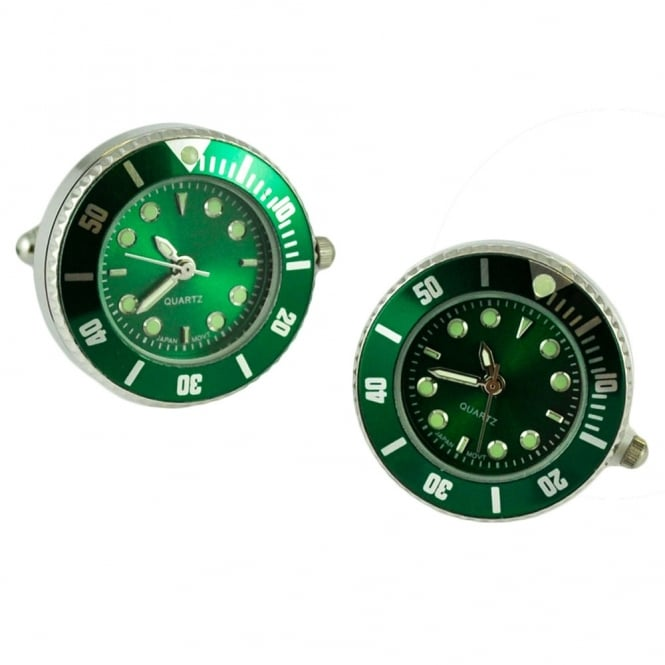 Japanese Movement Quartz Watch Green & Silver Cufflinks