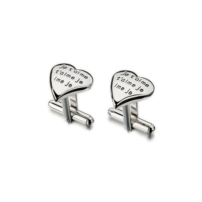 Je T'aime Love Heart Novelty Cufflinks