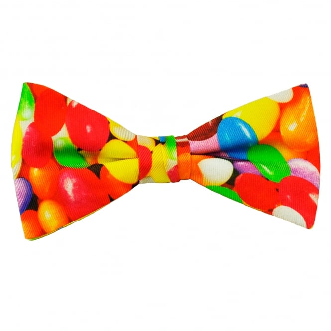 Jelly Beans Sweets Patterned Men's Silk Bow Tie