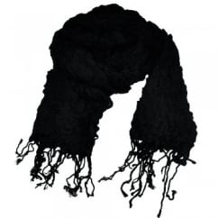 Jet Black Elasticated Ruched Long Fashion Scarf