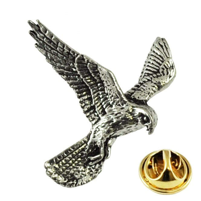 Kestrel Bird English Pewter Lapel Pin Badge