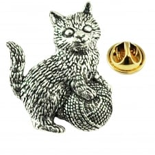 Kitten Cat with Ball of Wool English Pewter Lapel Pin Badge