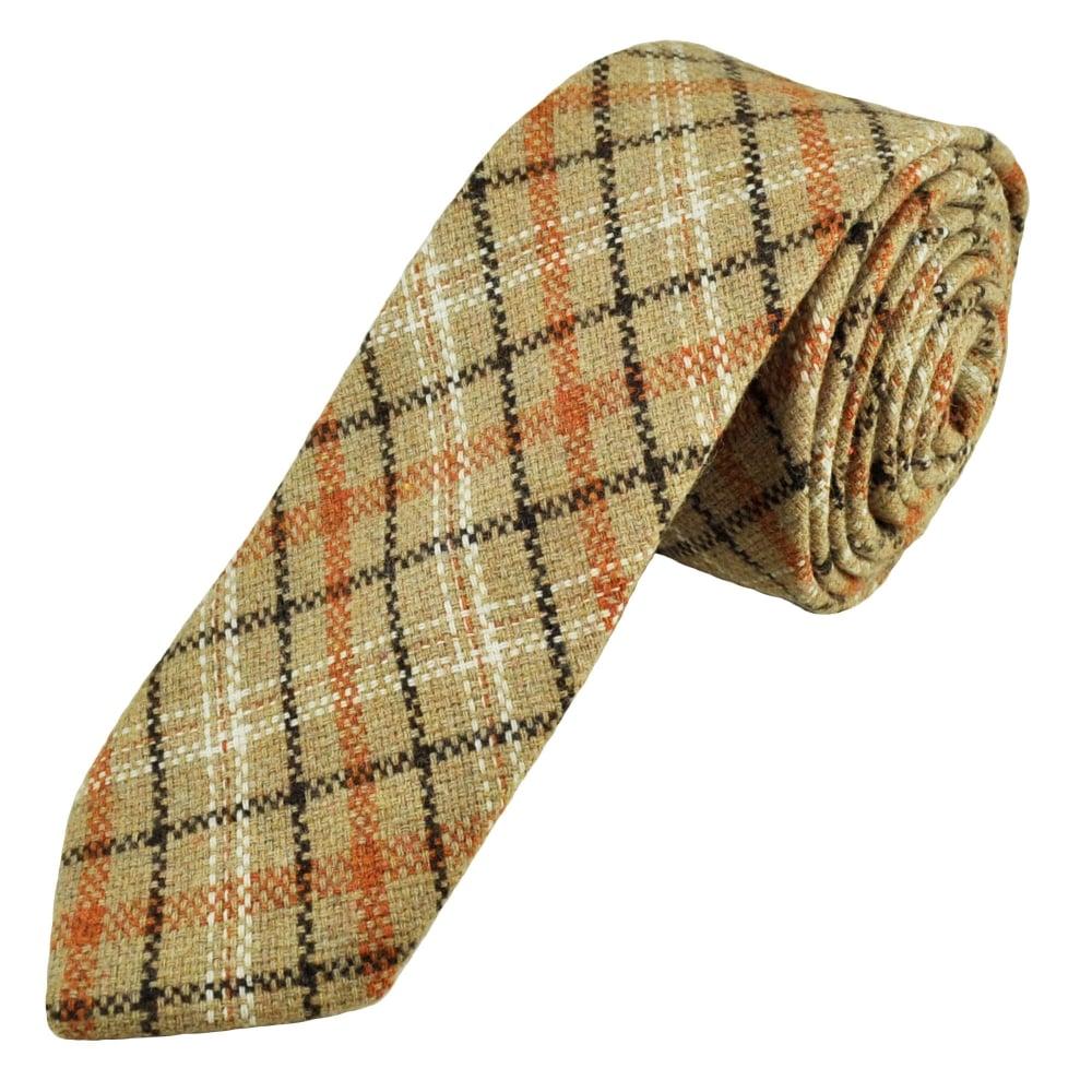 8963f1bc7aaf Knightsbridge Beige, Brown & Orange Checked Patterned 100% Wool Tweed Tie  from Ties Planet UK